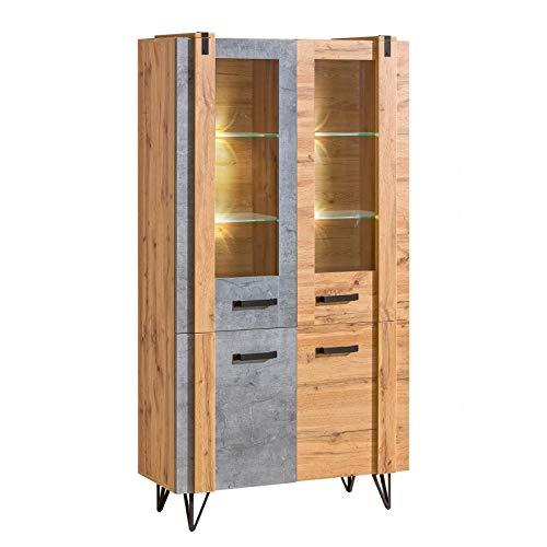 Vitrine Lofter 2 Türen 90 cm Industrie-Stil