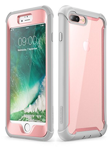 i-Blason Case for iPhone 8 Plus/iPhone 7 Plus, [Ares] Full-Body Rugged Clear Bumper Case with Built-in Screen Protector (Pink)