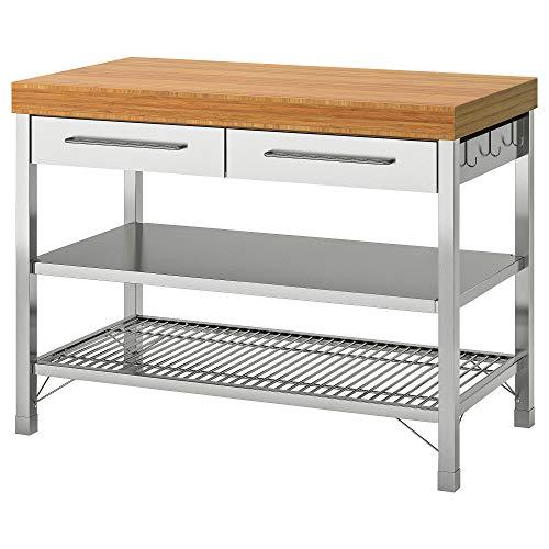 IKEA RIMFORSA Werkbank 63,5x92 cm Edelstahl/Bambus