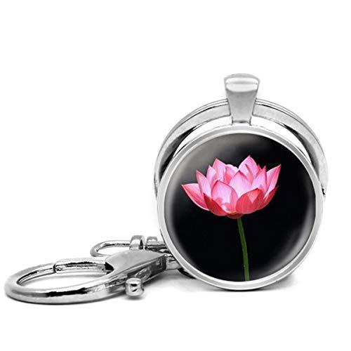 Llavero de acero inoxidable con llavero, ligero y decorativo, ideal como regalo para hombres y mujeres, un Lotus Art negro