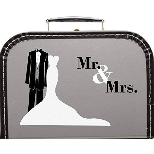 Hochzeitskoffer Mr & Mrs Frack, Pappkoffer mit Trim Farbe Silber, Größe 25 x 17,5 x 8,5 cm
