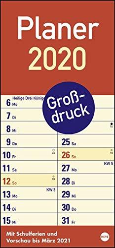 Großdruck Planer. Wandkalender 2020. Monatskalendarium. Spiralbindung. Format 21 x 45 cm