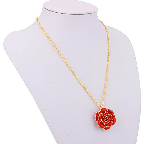 Rose hanger halsketting 24 karaats goud gedompeld echte roos hanger met 24 karaat vergulde ketting, beste geschenk voor vrouw vriendin moeder vrouwen voor Moederdag jubileum verjaardag