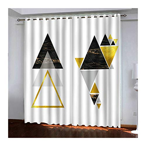 KnSam - Juego de 2 cortinas de poliéster 98 % de luz bloquean la luz, triángulo con ojales, 214 x 244 cm, color negro y dorado
