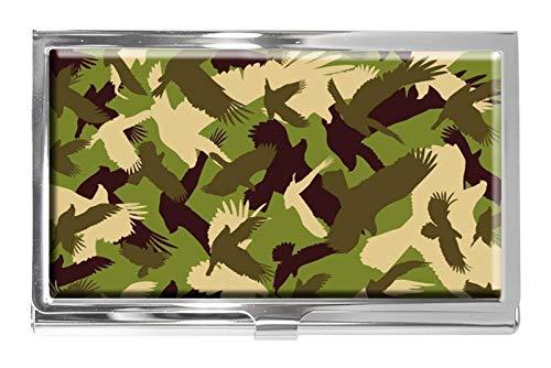 Tarjetero de acero inoxidable personalizable con diseño de paloma de camuflaje para tarjetas de visita