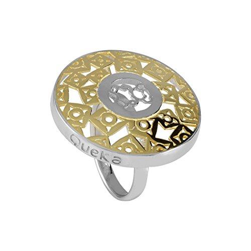 Silberring Queka Act 925m Qa-603-Yw Sammlung Runde Calada Sol Bicolor Gold-Rhodium überzogen