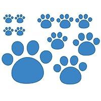 デザイン工房SIGNS 車 ステッカー 肉球 おもしろ 犬 猫 11枚セット 18 スカイブルー (マット)