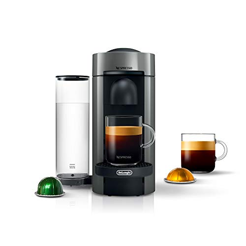 Nespresso VertuoPlus Coffee and Espresso Machine by De'Longhi, 5.6 x 16.2 x 12.8 inches, Grey