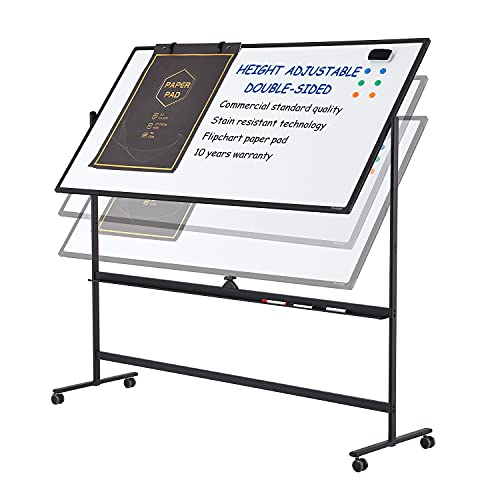 Large Mobile Rolling Magnetic Whiteboard - Adjust 360° 72 x 36 Inches Double Sided Dry Erase Board with Stand, Portable White Board Easel on Wheels for Office, Home & Classroom