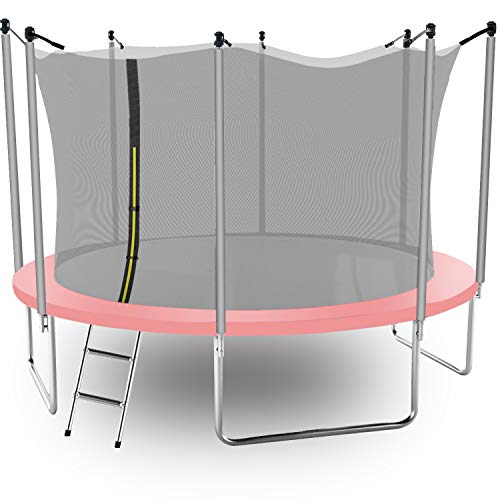 14 FT Trampoline for Kids with Safety Enclosure Net,Ladder Trampoline for Kids,Spring Pad, Ladder, Combo Bounce Jump Trampoline, Pink Outdoor Trampoline for Kids, Adults
