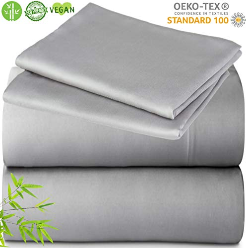 Bamboo Sheet Set - Lyocell Ultra Soft Luxury Sheets Like Sleeping on a Cloud Sateen Weave, Cooling Bed Sheets for Night Sweats Hotel Quality Hypoallergenic Breathable Sustainable (Gray, Queen)