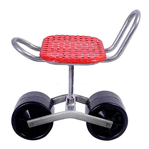 HOOJUEAN Garden Rolling Work Seat, Cart Scooter, Rolling Garden Automotive Garage Workseat With Adjustable Seat, up to 350 Pounds