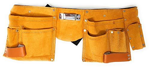 Toolzy 100074 Werkzeuggürtel aus Leder mit 11 Taschen Werkzeug Gürtel (mit Messertasche, Nageltasche, Hammerhalter + Gürtel aus Nylon)