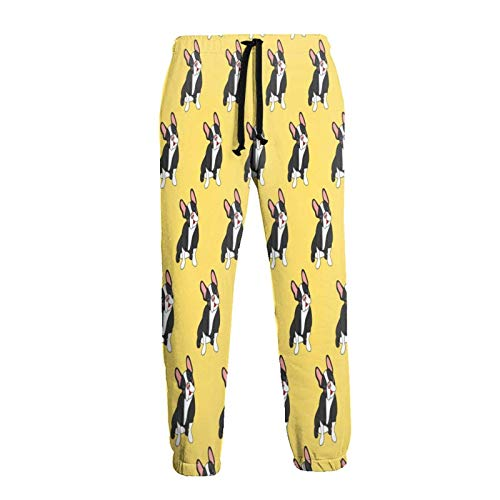 Hangdachang French Bull Dogs Yellow Men's Fashion Jogger Sweatpants Gym Pants Trousers with Pockets XL