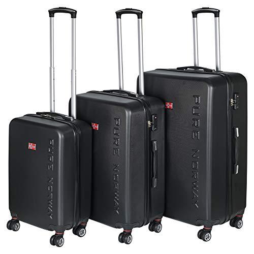 Juego de 3 maletas de plástico ABS con asas telescópicas ajustables de 28 pulgadas, ruedas dobles de 360 grados y candados de combinación TSA – 2 opciones disponibles Pure Norway X-Large