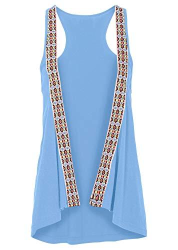 Versandhaus Damen Shirtweste in Gr. 32/34 XS Blau ärmellos Weste Ethno 955042 NEU