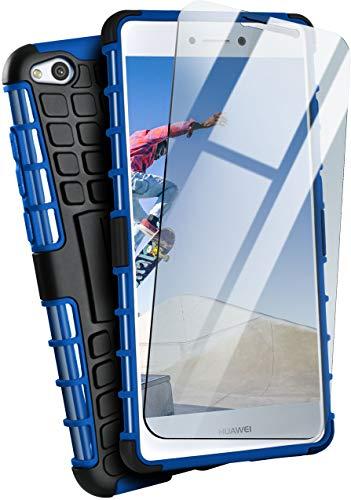 moex Panzerhülle kompatibel mit Huawei P8 Lite 2017 - Handyhülle mit Panzerglas, extrem stoßfest, Panzer Outdoor Hülle 360 Grad, Blau Schwarz