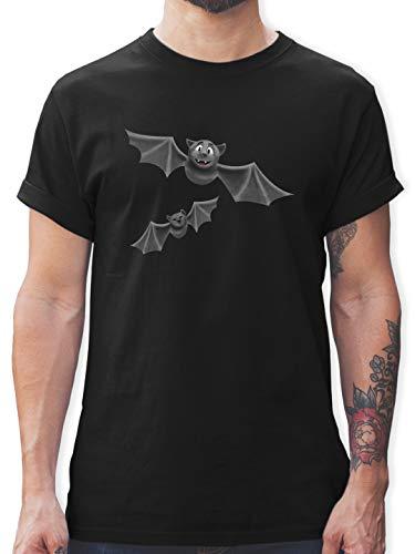 Halloween - süße Fledermäuse - M - Schwarz - T-Shirt - L190 - Tshirt Herren und Männer T-Shirts
