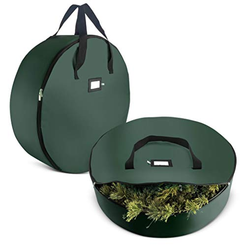 2-Pack Christmas Wreath Storage Bag 24' - Artificial Wreaths, Durable Handles, Dual Zipper & Card Slot, Holiday Xmas Tear Resistant Storage Container 420D Oxford Fabric