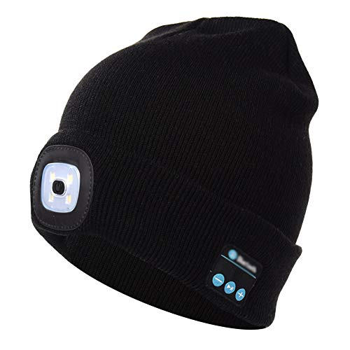 DPROMOT Wireless Bluetooth Beanie Hat with LED Headlamp, Unisex Musical Cap USB Rechargeable Headlight Black