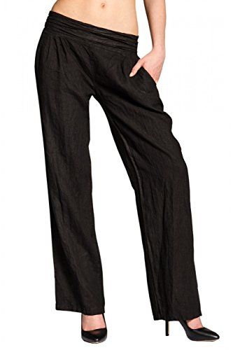 Caspar KHS020 Damen Casual Leinen Hose, Farbe:schwarz, Größe:XL - DE42 UK14 IT46 ES44 US12