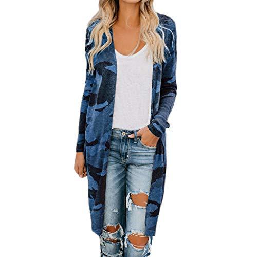 Xmiral Strickjacken Damen Dünn Tarnen Langarm Lange Mantel Outerwear Übergröße Parka Jacke Langärmlige Strickjacke mit Camouflage-Print für Damen(Blau,3XL)