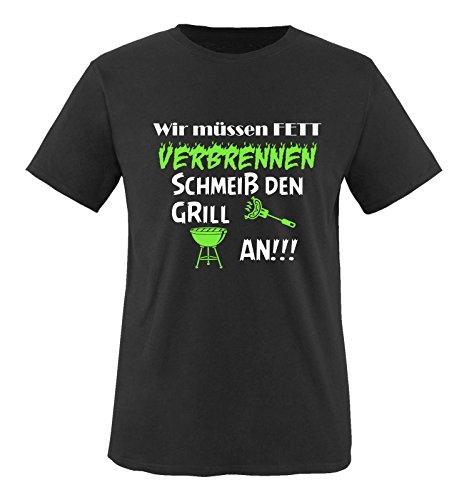 Comedy Shirts - Wir müssen Fett verbrennen schmeiß den Grill an!!! - Herren T-Shirt - Schwarz/Weiss-Neongrün Gr. 3XL