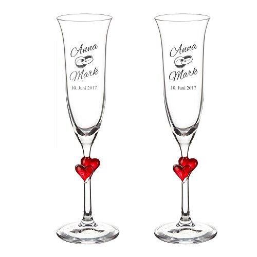 Casa Vivente Geschenkset zur Hochzeit – Sektgläser und große Schatztruhe mit Gravur – Motiv Ringe – Personalisiert mit Namen und Datum – Hochzeitsgeschenke für Brautpaar - 4