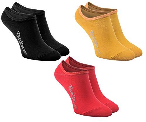 Rainbow Socks - Femme Homme - Couleur Chaussettes Courtes Invisibles en Coton - 3 Paire - Noir Rouge Jaune - Taille 36-38