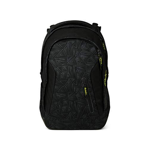 satch Sleek Black Bermuda, ergonomischer Schulrucksack, 24 Liter, extra schlank, Schwarz
