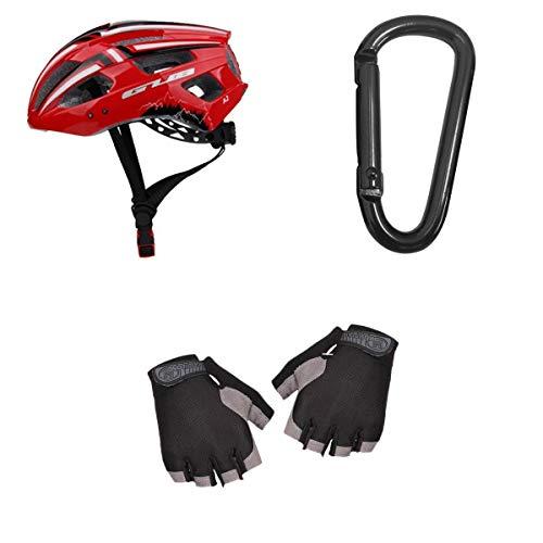 SM SunniMix Seguridad para Adultos Ciclismo Casco de Bicicleta Luz LED USB Diseño Y Guantes de Microshell - Rojo