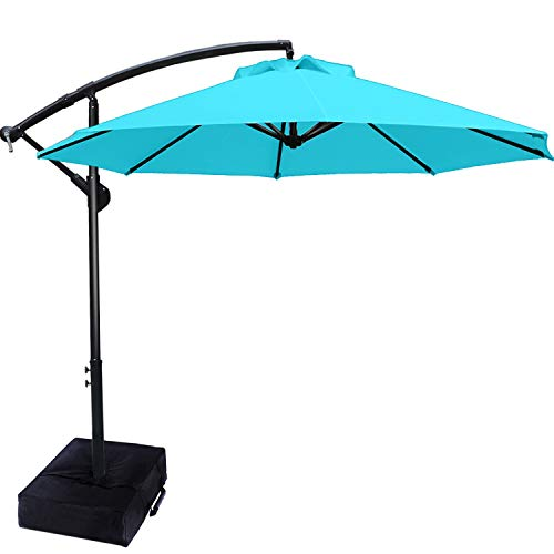 Patio Umbrellas Cantilever Umbrella Offset Hanging Umbrellas 9 FT Outdoor Market Umbrella with Crank & Cross Base for Garden, Deck, Backyard, Pool and Beach, 12+ Colors,Turquoise