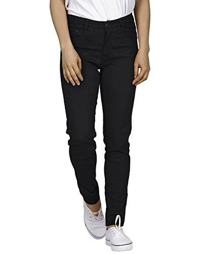 HDE Women's Mid-Rise Stretchy Denim Slim Fit Skinny Jeans (Black, X-Large)