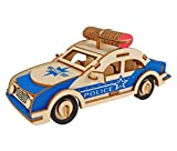 HYS Wooden Puzzles, Jigsaw Puzzle 3D for Kids, Educational Brain Teaser Police Car Set