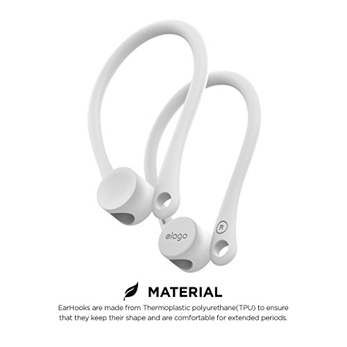 elago EarHooks Compatible with Apple AirPods 2, 1 - Perfect for Outdoor Activities, Long-lasting Comfort (White)