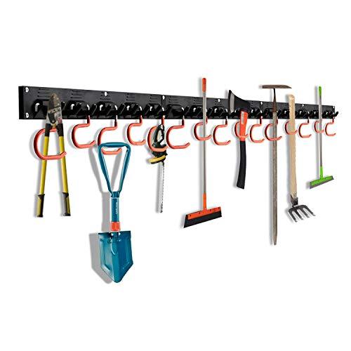OCGIG 48inch/123cm Colgador Herramientas Organizador Jardín Montaje en pared Estante Garaje Mango Sistema de Almacenamiento Ajustable Ganchos Organización del Garaje