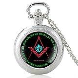 JTWMY Masónico y diseño de corazón Reloj de Bolsillo de Cuarzo Vintage Cúpula de Cristal Colgante Collar Horas Reloj...