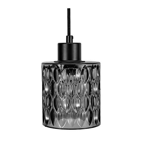 Pauleen 48122 Gleaming Magic Pendelleuchte max25W E27 Pendellampe Kristall-Look Schwarz/Rauchglas 230V Glas