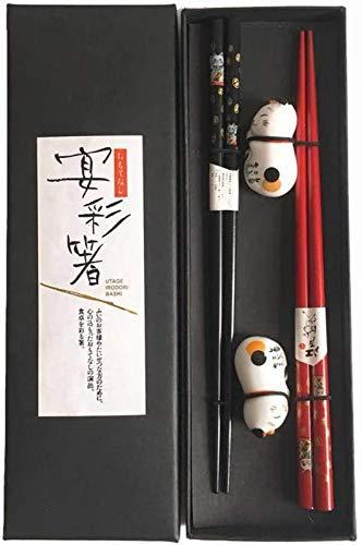 YANGYAN Home - Set di 4 bacchette giapponesi, 22,5 cm, in legno rosso e nero, set da 2 paia con supporto in ceramica