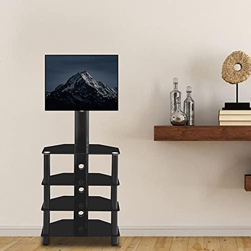 TANGIST Monitor de Piso Ajustable Monitor de televisión ángulo de Altura Monte Monte Monitor Monte Soporte Base de Rack con estantes de Vidrio Templado de 4 Niveles