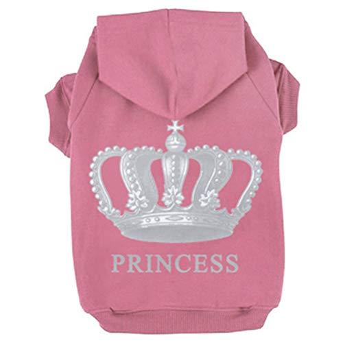 EXPAWLORER Princess Dog Cat Fleece Sweatershirt Hoodies Pink M
