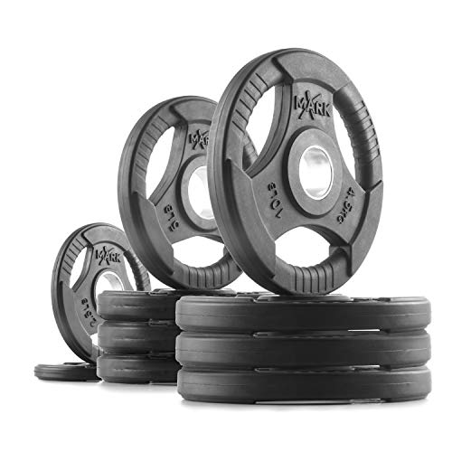 XMark TRI-Grip 65 lb Set Olympic Plates, One-Year Warranty, Olympic Weight Plates, Classic Design, Rubber Coated Olympic Weight Plate Set, Olympic Barbell Weight Set for Home