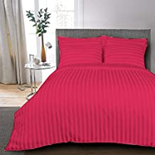 AVI Set of 3 Classic 300 TC Stripes Cotton Extra Large Bed Sheet with 6 Pillow Cover, Blush Pink (108 * 108in)