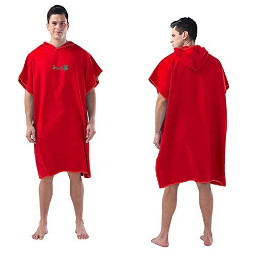 Homemari Toalla de surf para cambiar la bata, poncho, toalla de playa, cambio de surf, de secado rápido, para adultos, natación, surf, playa, baño (rojo)