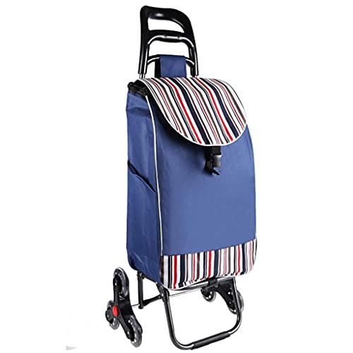 WYZXR Faltbarer Einkaufswagen auf 2 Rädern, wasserdichte Canvas-Tasche, Faltbarer Einkaufswagen für Lebensmitteltreppen, 35 l große Einkaufskapazität (Farbe : D)
