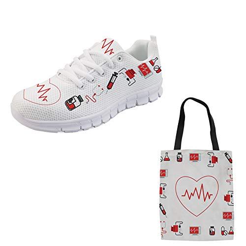 Woisttop Zapatillas de tenis para correr para mujer, ligeras, informales, con una bolsa de lona (2 artículos), color, talla 43.5 EU