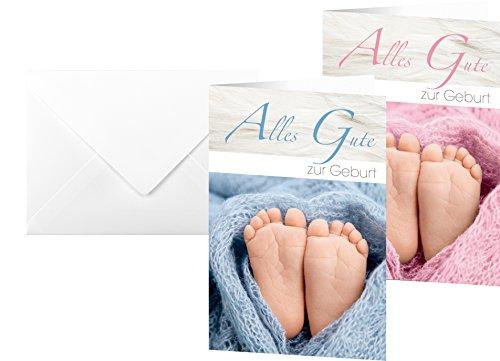 SIGEL DS041 Glückwunsch-Karten zur Geburt: Set Junge + Mädchen, 10 Stück mit Umschlägen