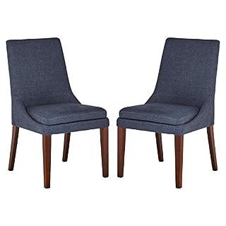 "Amazon Brand – Stone & Beam Alaina Upholstered Dining Room Kitchen Chairs, 20""W, Set of 2, Navy Blue (B07B78M186)   Amazon price tracker / tracking, Amazon price history charts, Amazon price watches, Amazon price drop alerts"