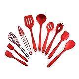 ZXNRTU Elegante Durevole Silicone Utensili da Cucina Set, 10 Pezzi Utensile da Cucina Set, Set da Cucina Mestoli (Color : Red)