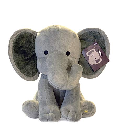 KINREX Stuffed Elephant Animal Plush - Toys for Baby, Boy, Girls - Great for Nursery, Room Decor, Bed - Grey - Measures 9 Inches